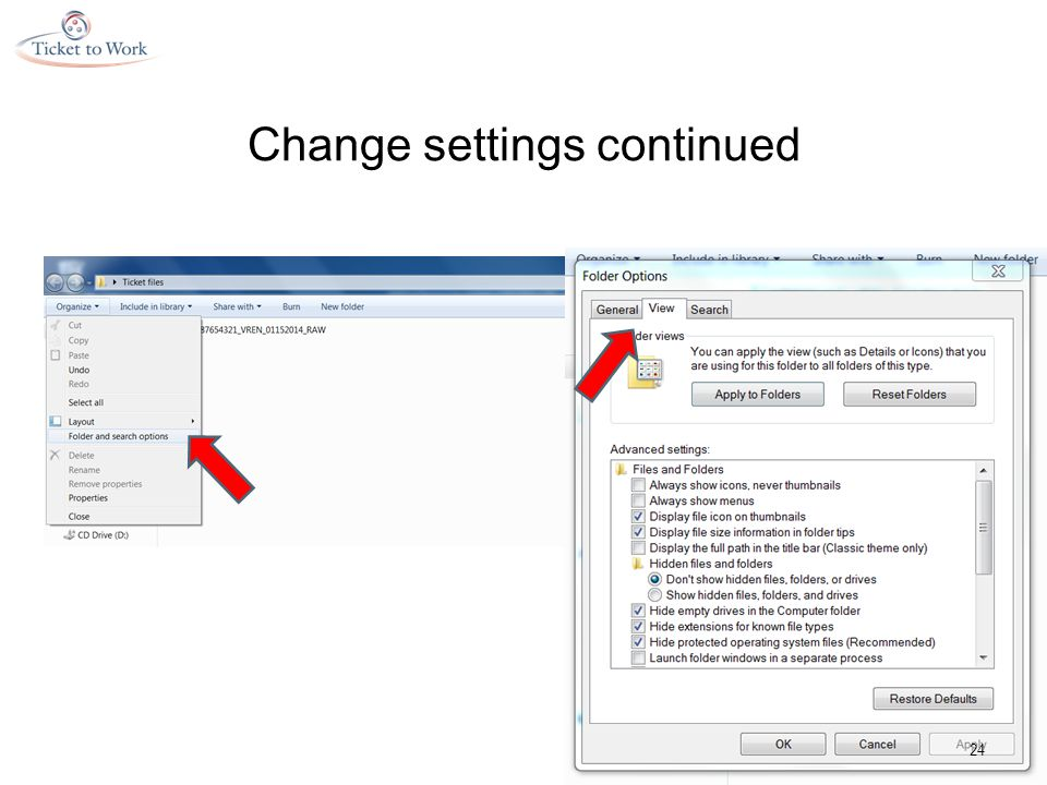 Change settings continued 24