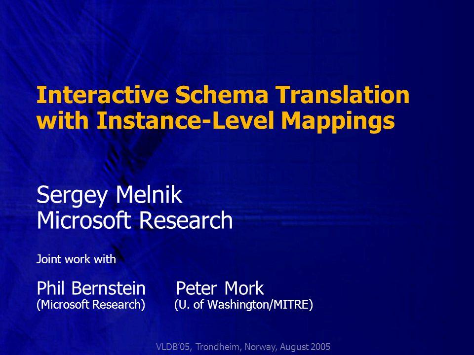 Bernstein, Melnik, Mork: Interactive Schema Translation with Instance-Level Mappings.