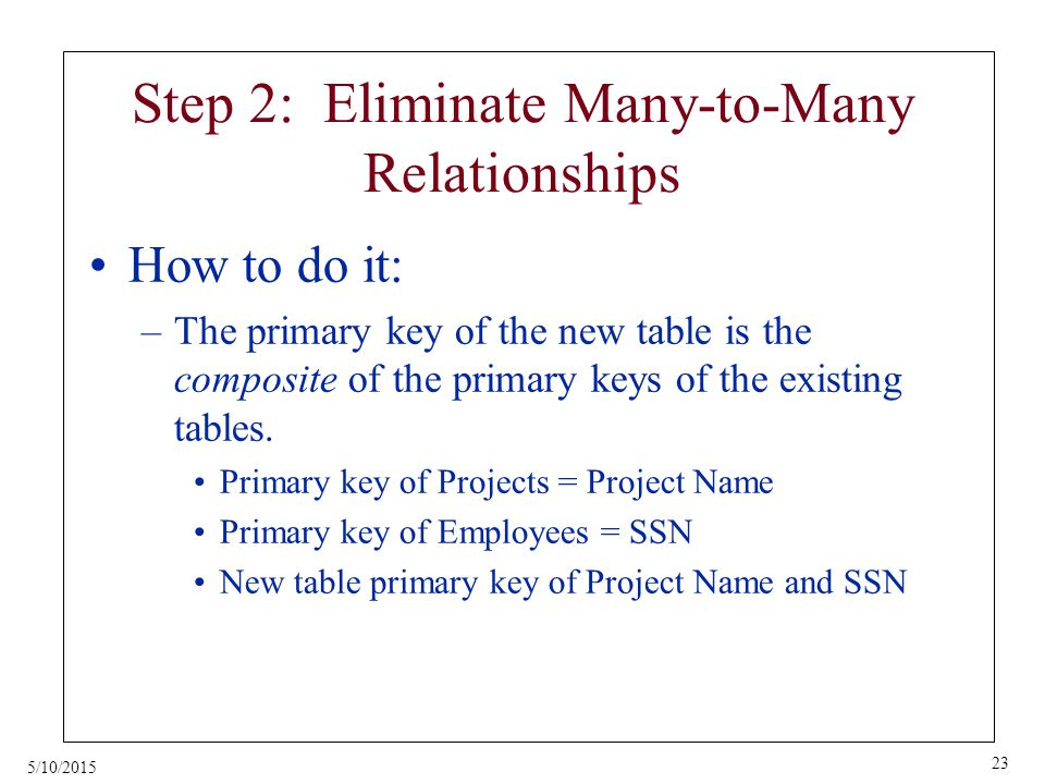 5/10/2015 23 Step 2: Eliminate Many-to-Many Relationships How to do it: –The primary key of the new table is the composite of the primary keys of the existing tables.