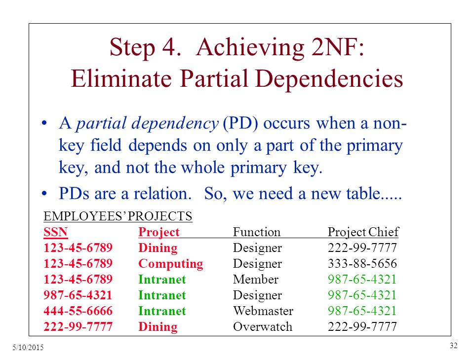 5/10/2015 32 Step 4. Achieving 2NF: Eliminate Partial Dependencies A partial dependency (PD) occurs when a non- key field depends on only a part of th