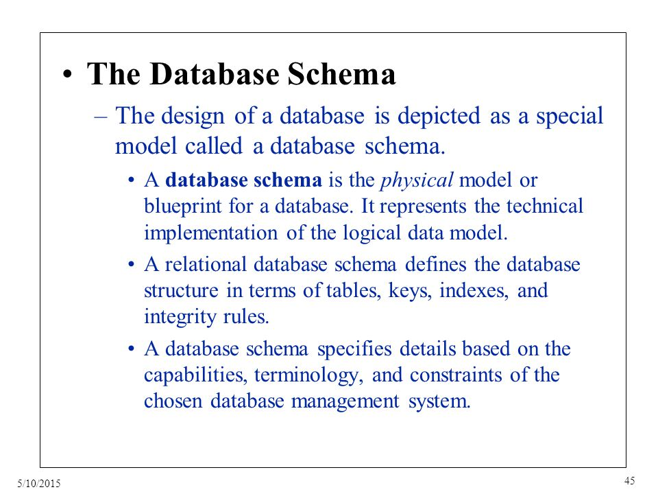 5/10/2015 45 The Database Schema –The design of a database is depicted as a special model called a database schema.