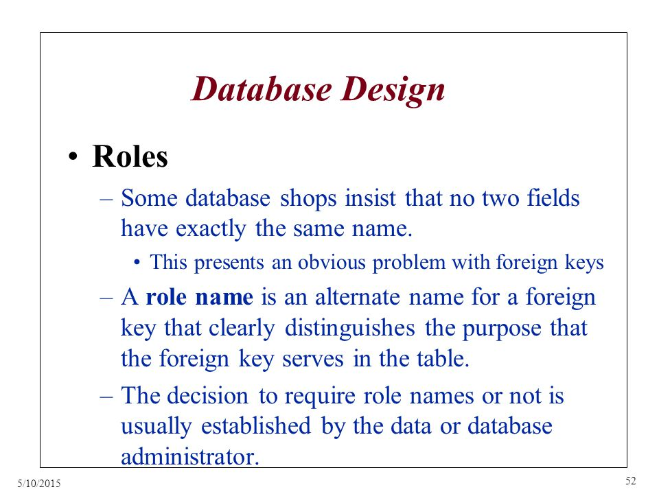 5/10/2015 52 Database Design Roles –Some database shops insist that no two fields have exactly the same name.