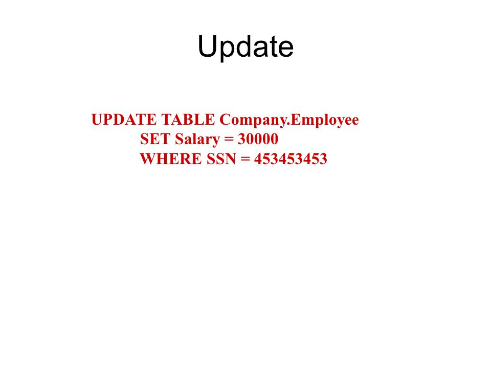 Update UPDATE TABLE Company.Employee SET Salary = WHERE SSN =