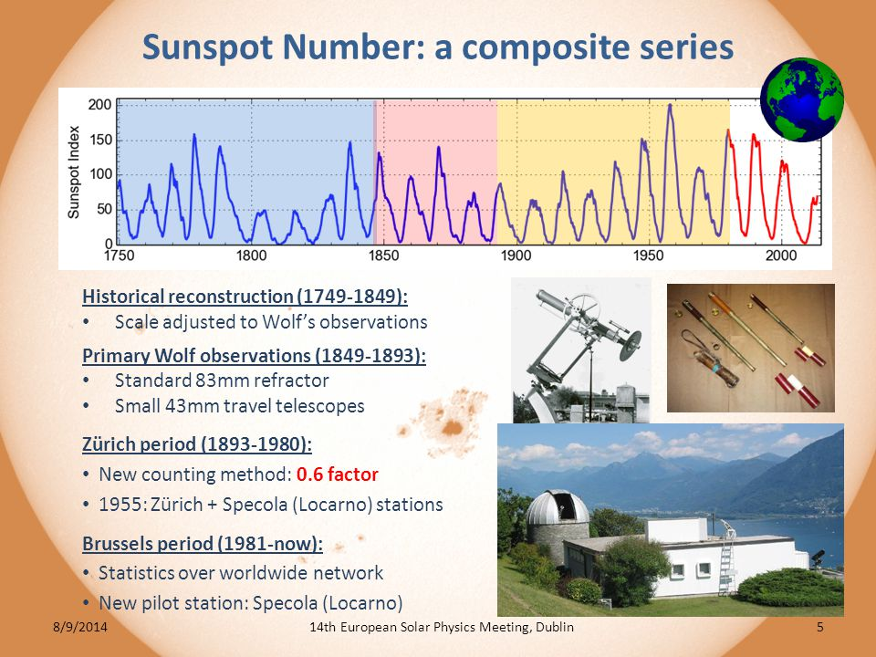 Group sunspot number: a recent construction New larger data set back to 1610 (Hoyt & Schatten 1998) : Group counts only: – lower dependency on evolution of optical quality of telescopes (mainly before 19 th century) Built as a single series Commonly used for long-term reconstructions of solar irradiance and cosmogenic isotopes (e.g.