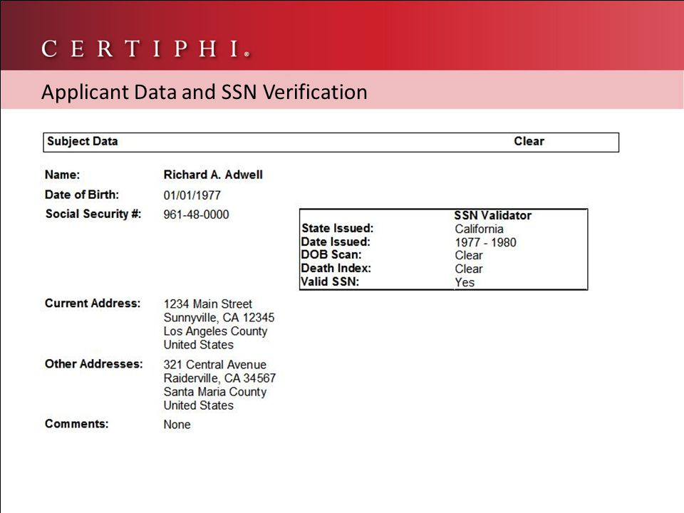 Applicant Data and SSN Verification