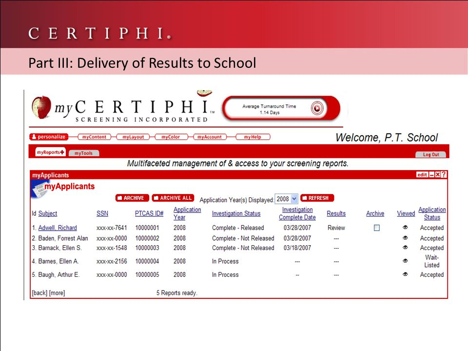 Part III: Delivery of Results to School