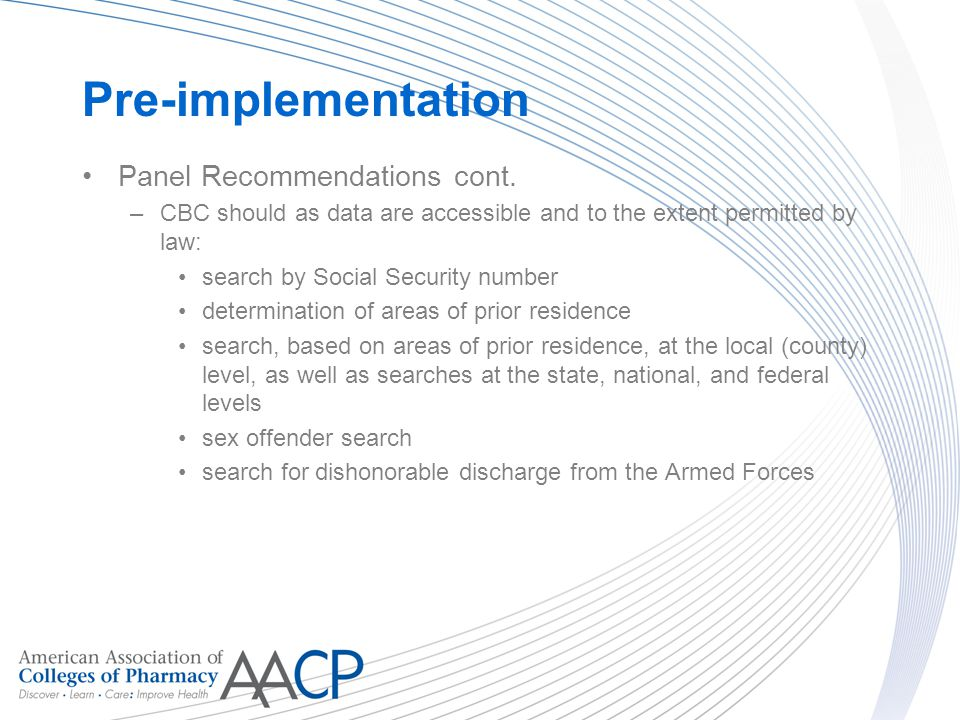 Pre-implementation Panel Recommendations cont.