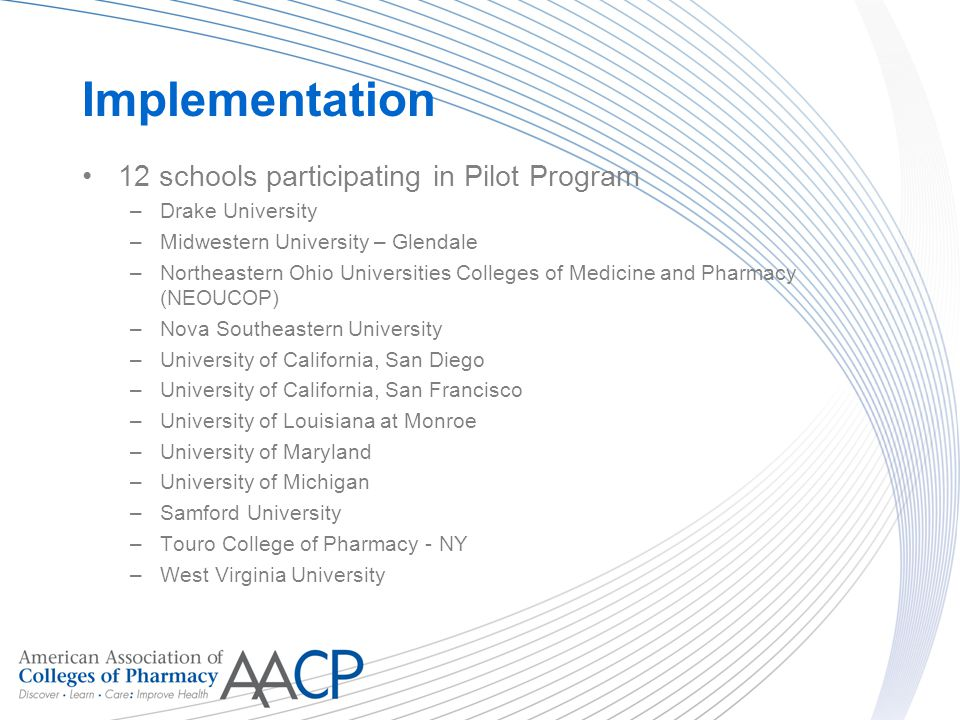 Implementation 12 schools participating in Pilot Program –Drake University –Midwestern University – Glendale –Northeastern Ohio Universities Colleges of Medicine and Pharmacy (NEOUCOP) –Nova Southeastern University –University of California, San Diego –University of California, San Francisco –University of Louisiana at Monroe –University of Maryland –University of Michigan –Samford University –Touro College of Pharmacy - NY –West Virginia University