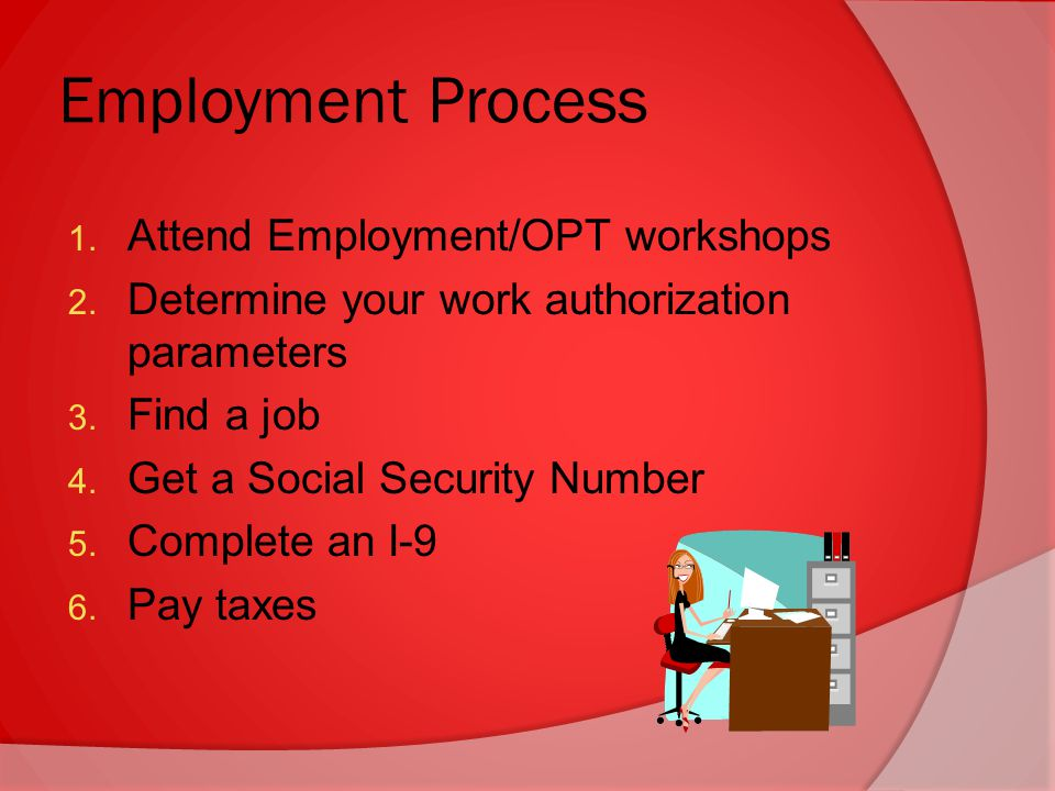 1. Attend Employment/OPT workshops 2. Determine your work authorization parameters 3.