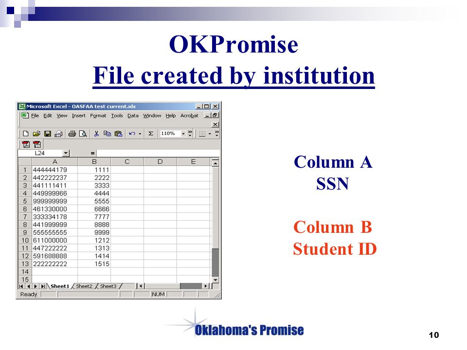 10 OKPromise File created by institution Column A SSN Column B Student ID