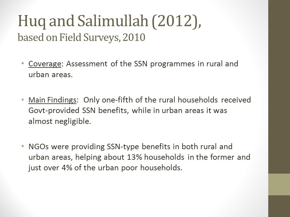 Huq and Salimullah (2012), based on Field Surveys, 2010 Coverage: Assessment of the SSN programmes in rural and urban areas. Main Findings: Only one-f