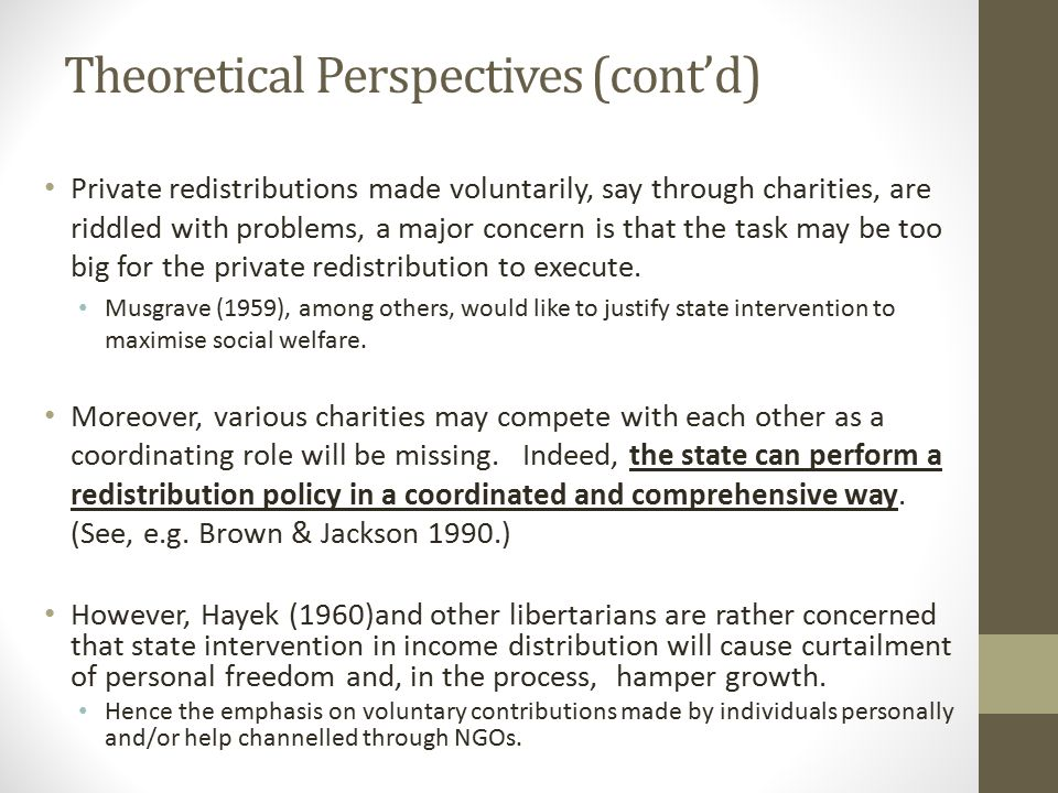 Theoretical Perspectives (cont'd) Private redistributions made voluntarily, say through charities, are riddled with problems, a major concern is that