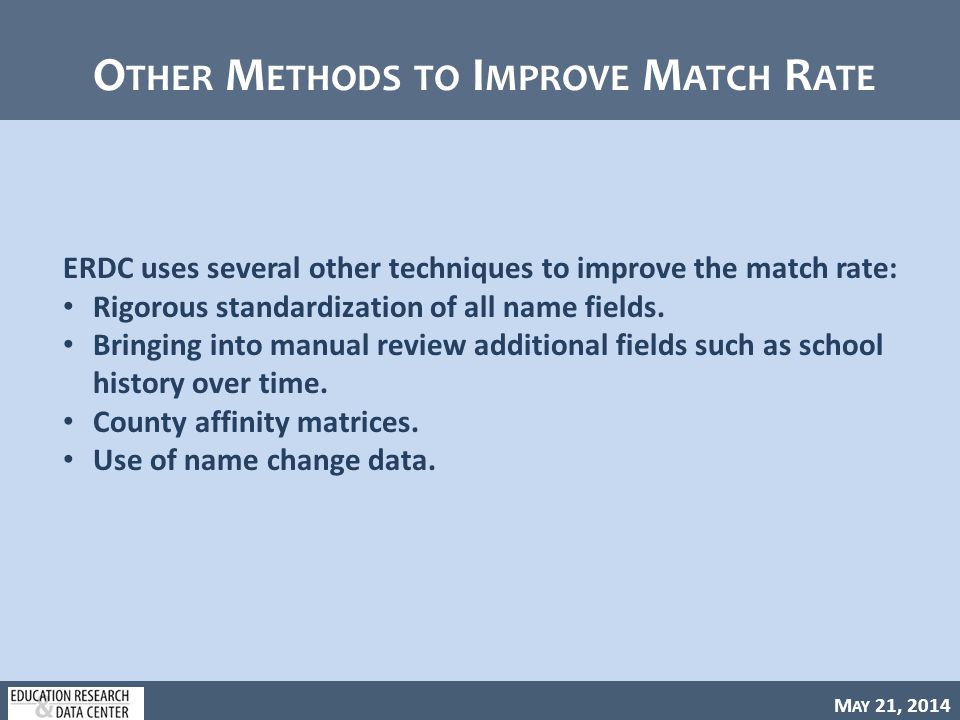 M AY 21, 2014 O THER M ETHODS TO I MPROVE M ATCH R ATE ERDC uses several other techniques to improve the match rate: Rigorous standardization of all name fields.