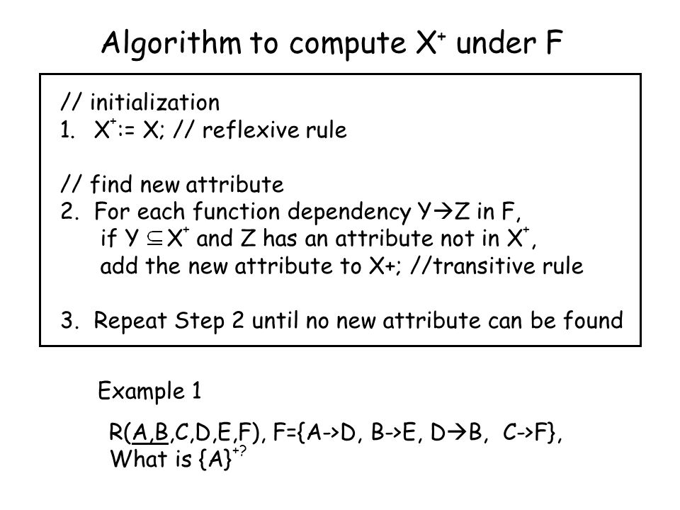Algorithm to compute X + under F // initialization 1.X + := X; // reflexive rule // find new attribute 2.For each function dependency Y  Z in F, if Y X + and Z has an attribute not in X +, add the new attribute to X+; //transitive rule 3.Repeat Step 2 until no new attribute can be found R(A,B,C,D,E,F), F={A->D, B->E, D  B, C->F}, What is {A} +.