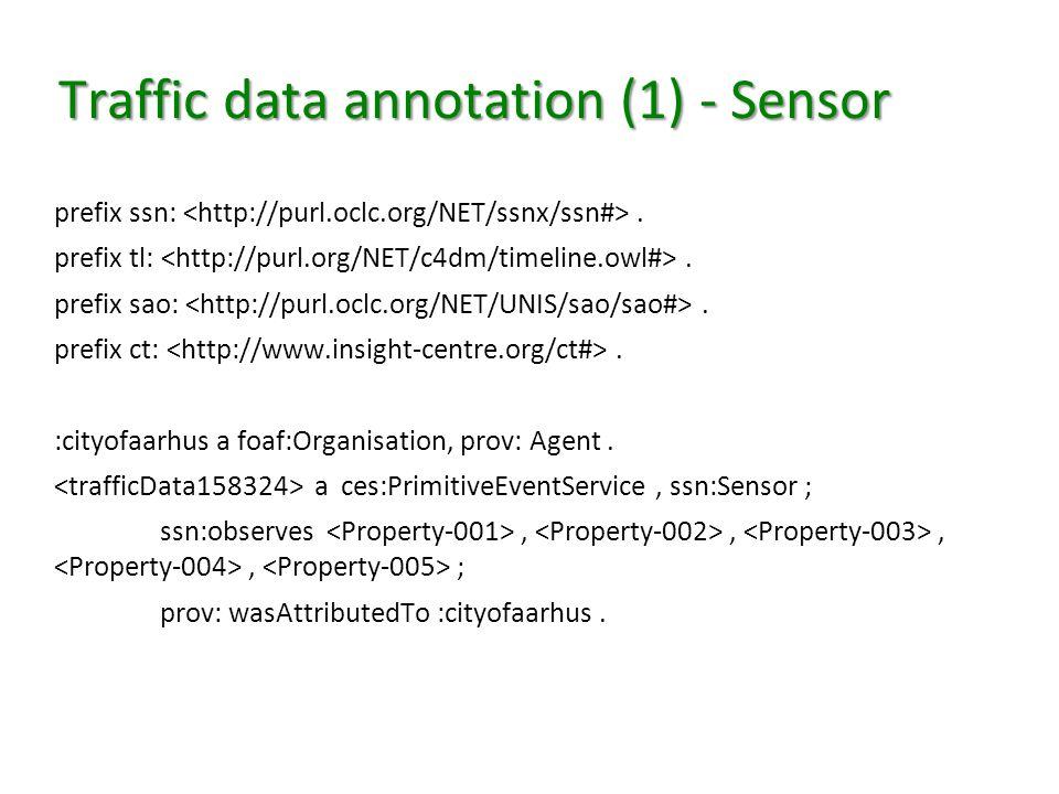 Traffic data annotation (1) - Sensor prefix ssn:. prefix tl:. prefix sao:. prefix ct:. :cityofaarhus a foaf:Organisation, prov: Agent. a ces:Primitive