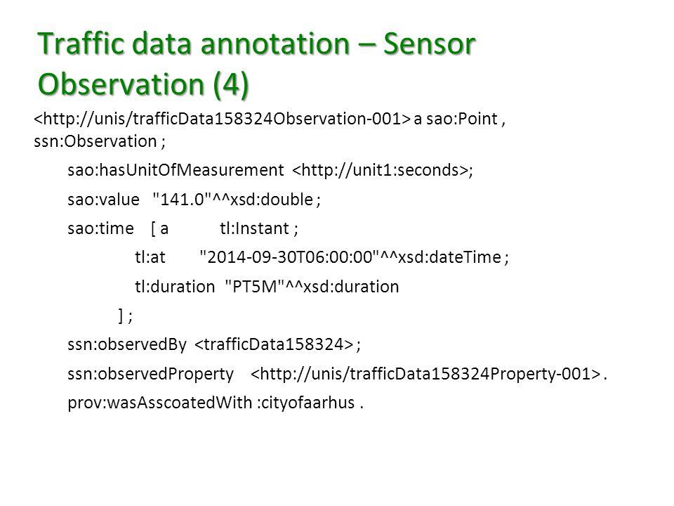 Traffic data annotation – Sensor Observation (4) a sao:Point, ssn:Observation ; sao:hasUnitOfMeasurement ; sao:value