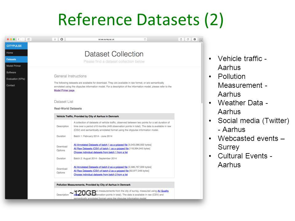 Reference Datasets (2) ~120GB Vehicle traffic - Aarhus Pollution Measurement - Aarhus Weather Data - Aarhus Social media (Twitter) - Aarhus Webcasted