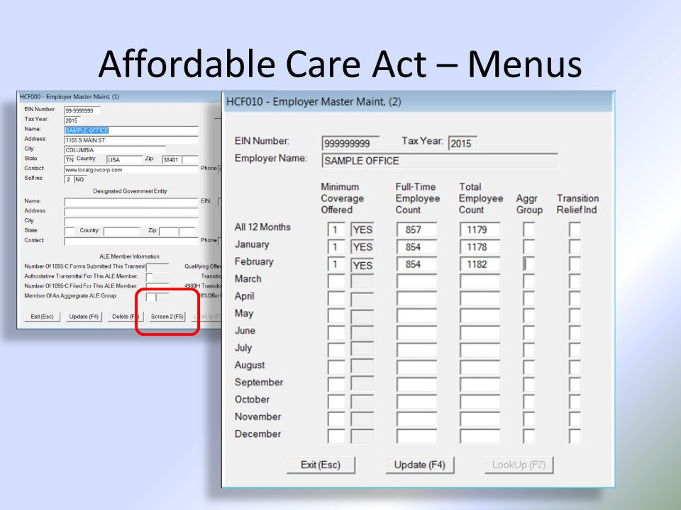 Affordable Care Act – Menus