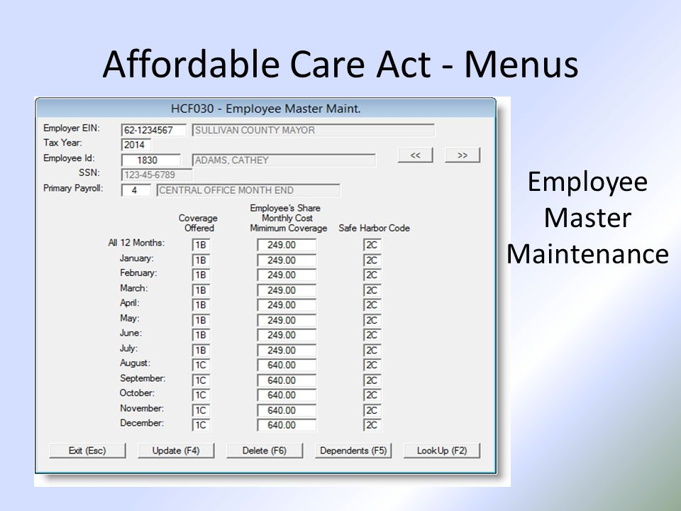 Affordable Care Act - Menus Employee Master Maintenance