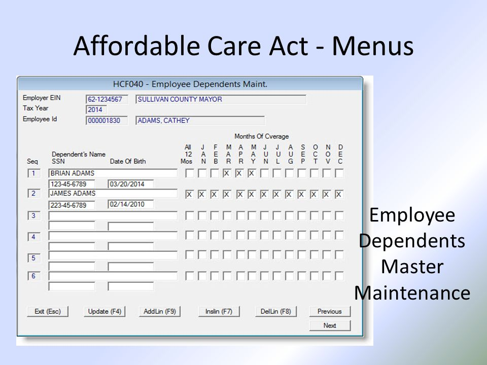 Affordable Care Act - Menus Employee Dependents Master Maintenance