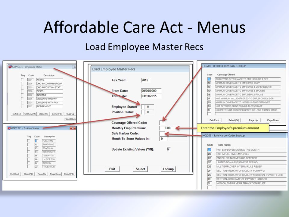 Affordable Care Act - Menus Load Employee Master Recs