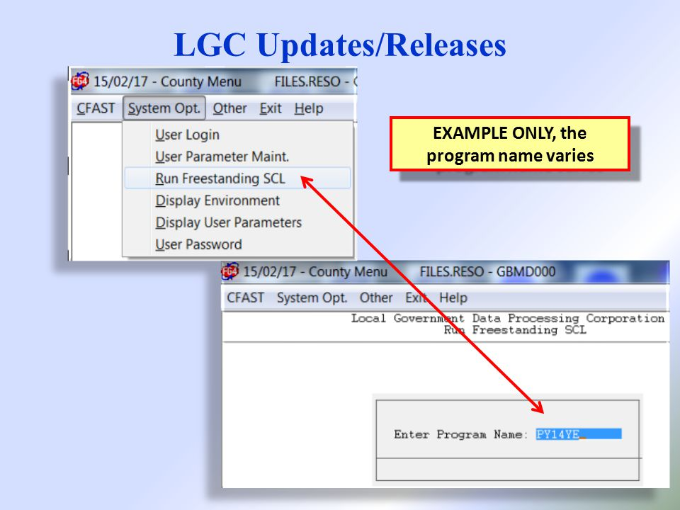 LGC Updates/Releases EXAMPLE ONLY, the program name varies