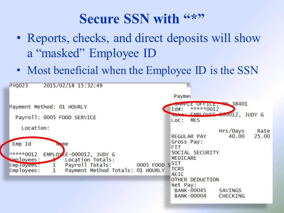 Secure SSN with * Reports, checks, and direct deposits will show a masked Employee ID Most beneficial when the Employee ID is the SSN