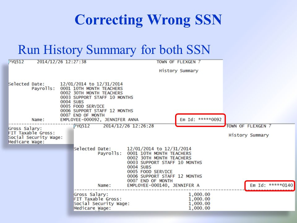 Correcting Wrong SSN Run History Summary for both SSN