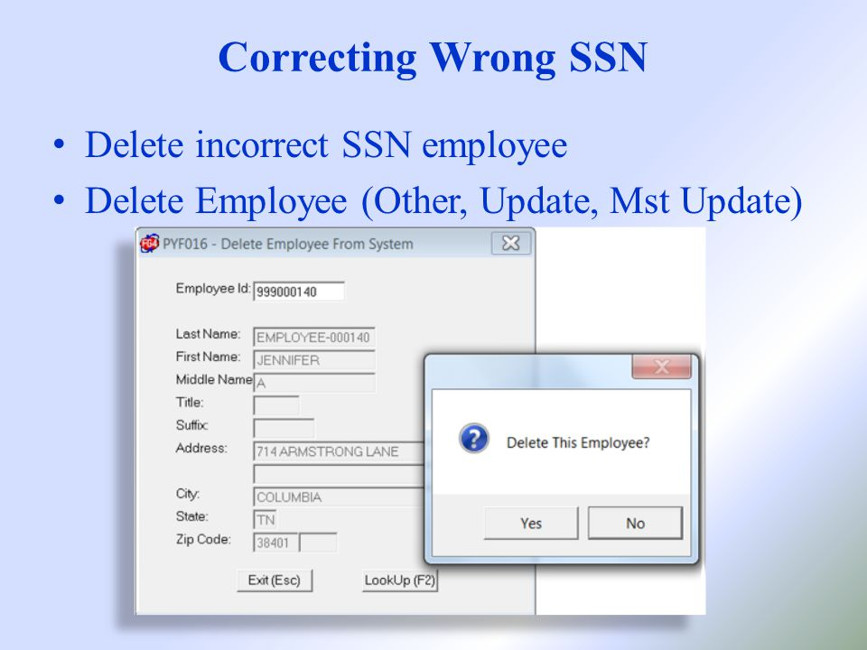 Correcting Wrong SSN Delete incorrect SSN employee Delete Employee (Other, Update, Mst Update)