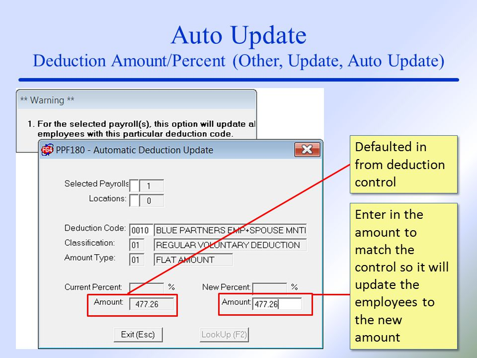 Auto Update Deduction Amount/Percent (Other, Update, Auto Update) Defaulted in from deduction control Enter in the amount to match the control so it will update the employees to the new amount
