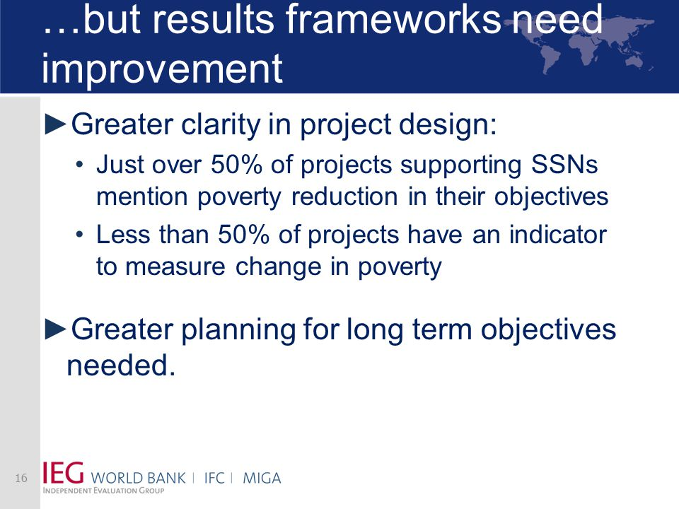 …but results frameworks need improvement ► Greater clarity in project design: Just over 50% of projects supporting SSNs mention poverty reduction in t