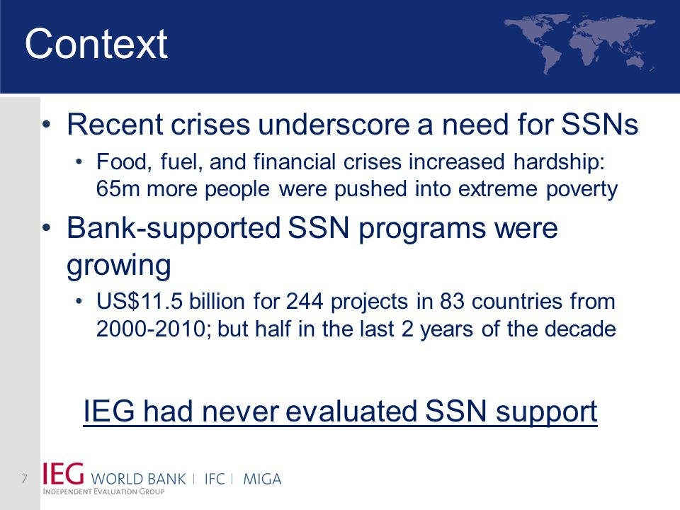 Context Recent crises underscore a need for SSNs Food, fuel, and financial crises increased hardship: 65m more people were pushed into extreme poverty