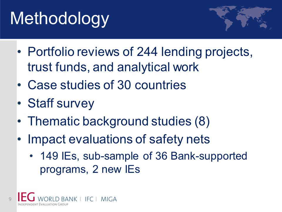 Methodology Portfolio reviews of 244 lending projects, trust funds, and analytical work Case studies of 30 countries Staff survey Thematic background