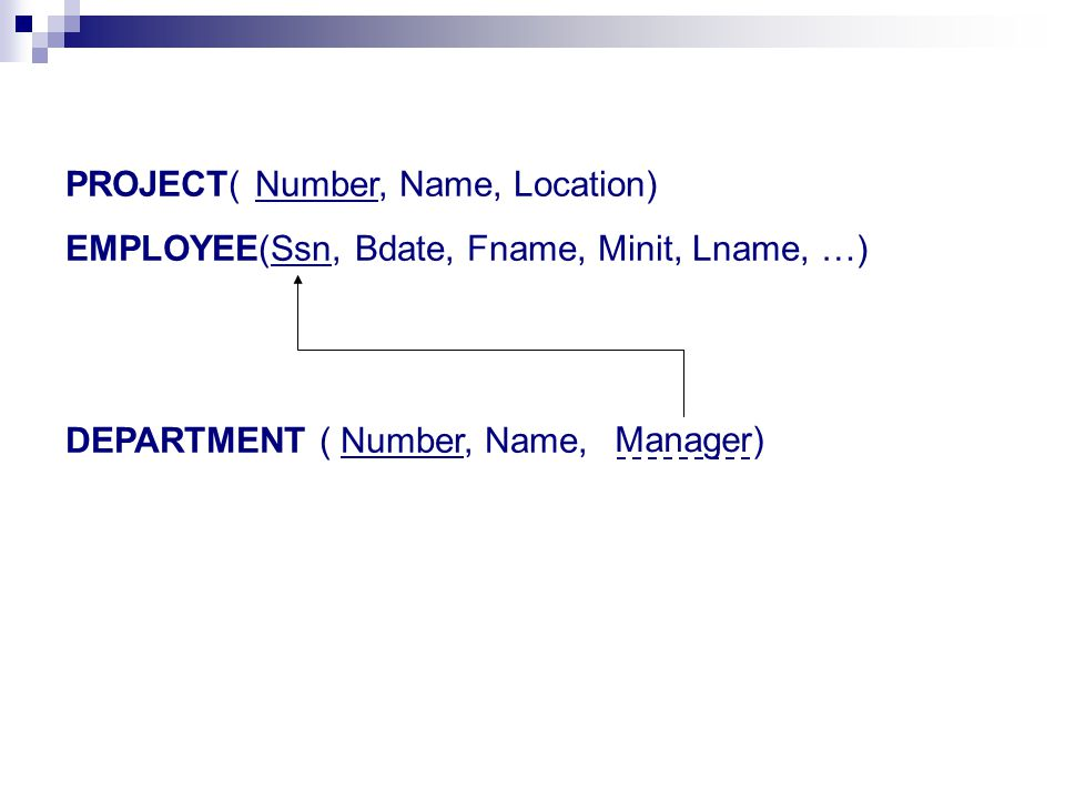 PROJECT( Number, Name, Location) EMPLOYEE(Ssn, Bdate, Fname, Minit, Lname, …) DEPARTMENT ( Number, Name, Manager)