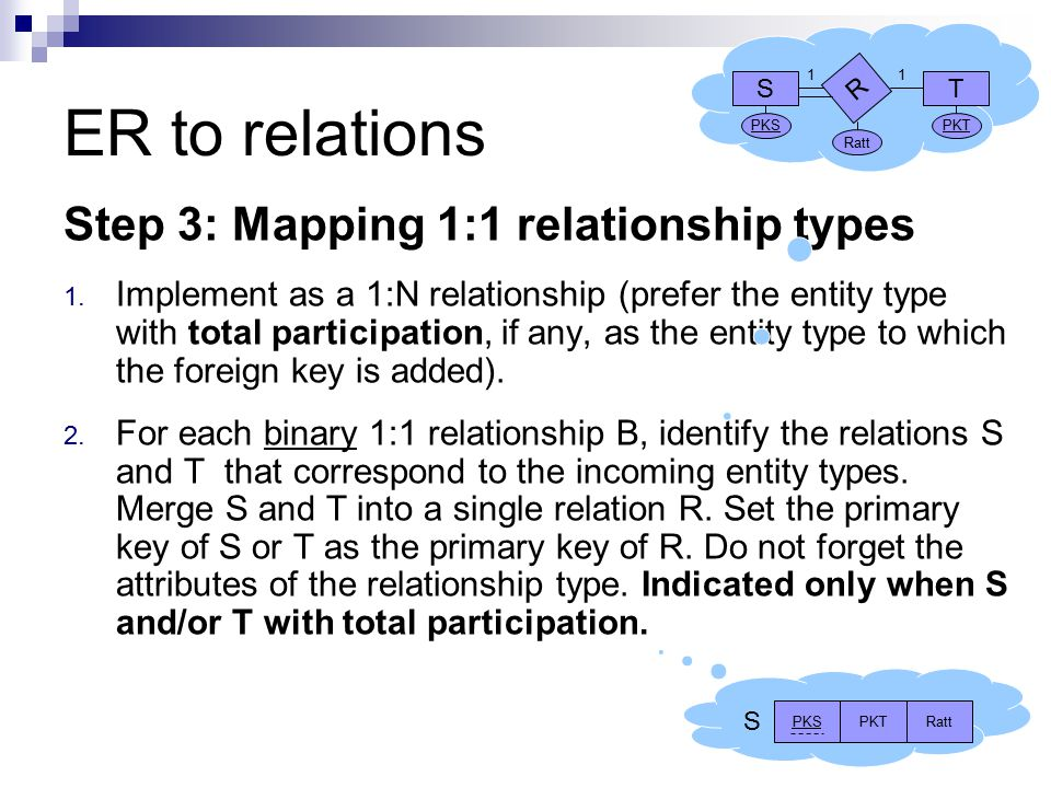 ER to relations Step 3: Mapping 1:1 relationship types 1.