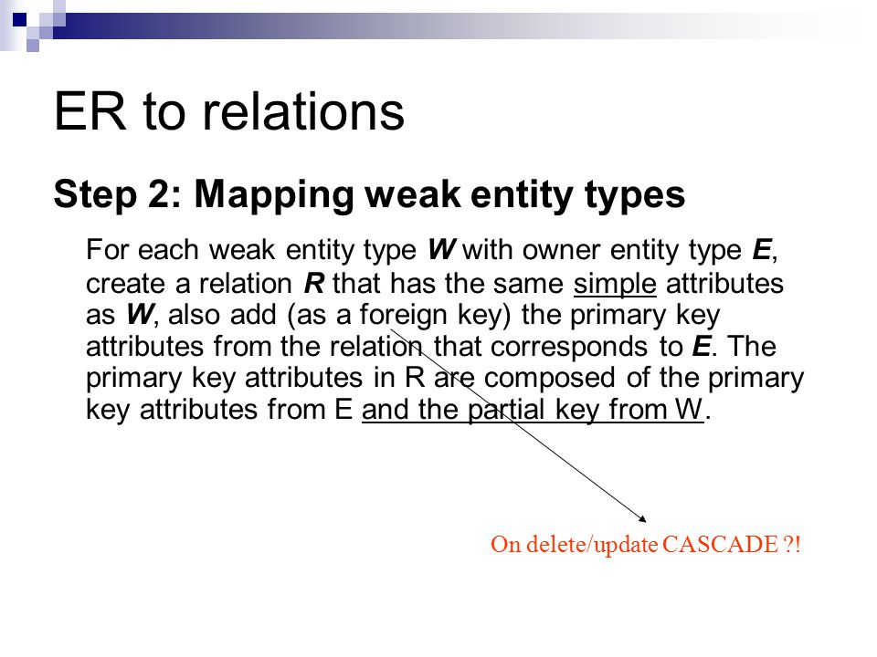 ER to relations Step 2: Mapping weak entity types For each weak entity type W with owner entity type E, create a relation R that has the same simple a