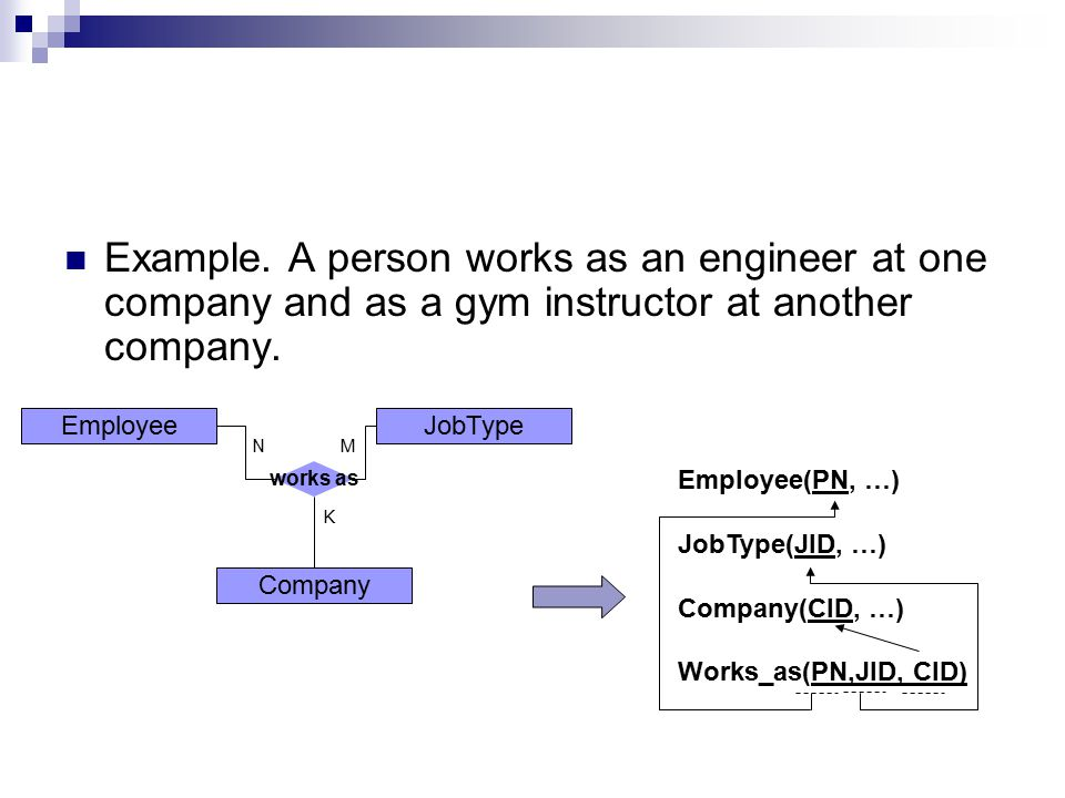 Example. A person works as an engineer at one company and as a gym instructor at another company.