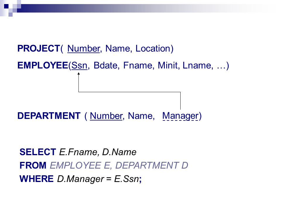 PROJECT( Number, Name, Location) EMPLOYEE(Ssn, Bdate, Fname, Minit, Lname, …) DEPARTMENT ( Number, Name, Manager) SELECT E.Fname, D.Name FROM EMPLOYEE E, DEPARTMENT D WHERE D.Manager = E.Ssn;