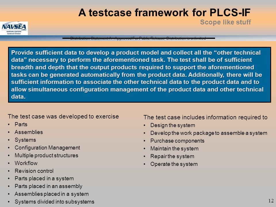 Distribution Statement A : Approved For Public Release; Distribution is unlimited 12 The test case was developed to exercise Parts Assemblies Systems Configuration Management Multiple product structures Workflow Revision control Parts placed in a system Parts placed in an assembly Assemblies placed in a system Systems divided into subsystems A testcase framework for PLCS-IF Scope like stuff The test case includes information required to Design the system Develop the work package to assemble a system Purchase components Maintain the system Repair the system Operate the system Provide sufficient data to develop a product model and collect all the other technical data necessary to perform the aforementioned task.