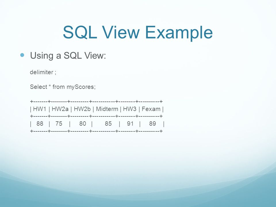 SQL View Example Using a SQL View: delimiter ; Select * from myScores; +-------+--------+---------+-----------+--------+----------+ | HW1 | HW2a | HW2