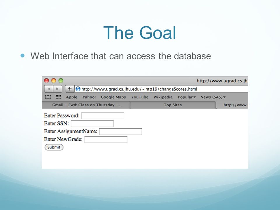 The Goal Web Interface that can access the database