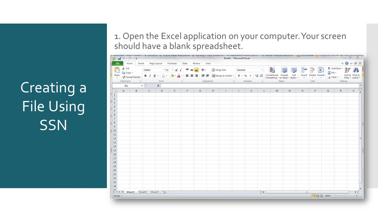 Creating a File Using SSN 1. Open the Excel application on your computer.