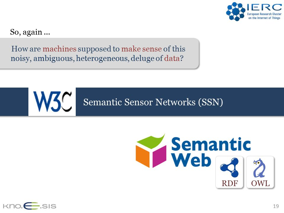 19 RDFOWL Semantic Sensor Networks (SSN) How are machines supposed to make sense of this noisy, ambiguous, heterogeneous, deluge of data.