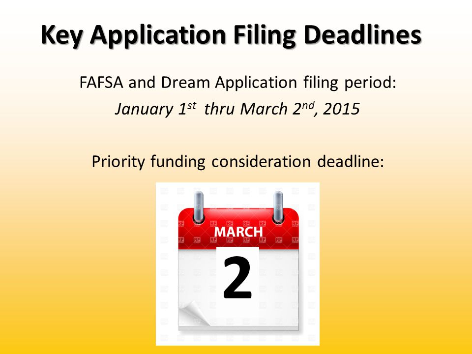 Key Application Filing Deadlines FAFSA and Dream Application filing period: January 1 st thru March 2 nd, 2015 Priority funding consideration deadline: 2