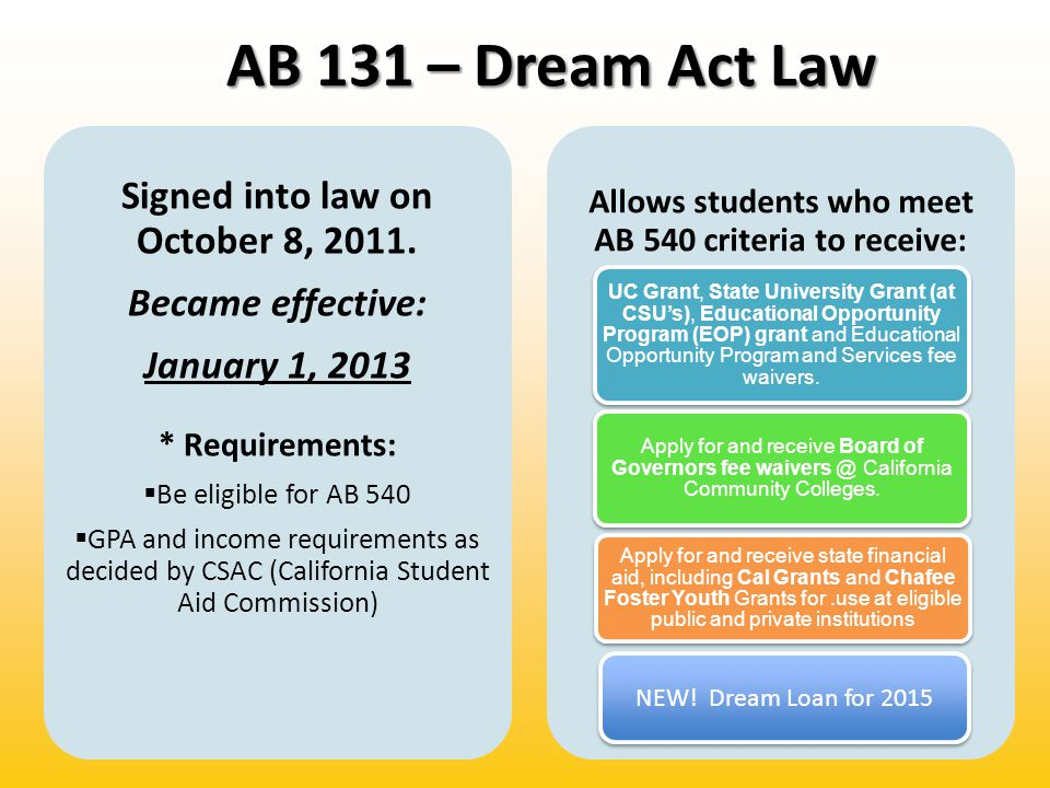 AB 131 – Dream Act Law Signed into law on October 8, 2011.