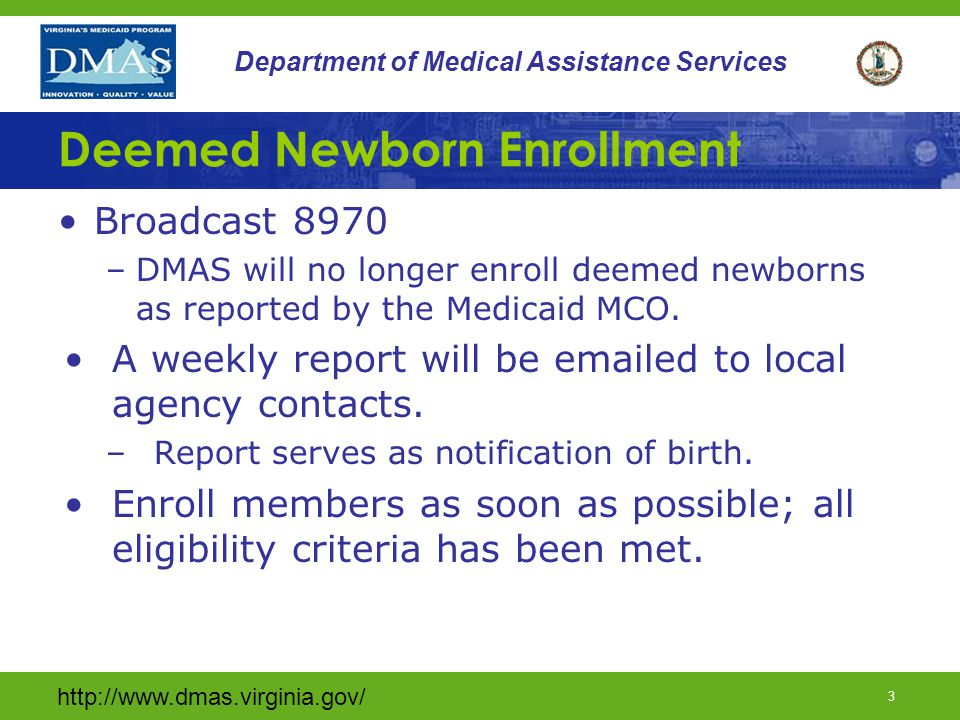 http://www.dmas.virginia.gov/ 33 Department of Medical Assistance Services C & I Verification MMIS exchanges data with SSA for the documentation of C&I.