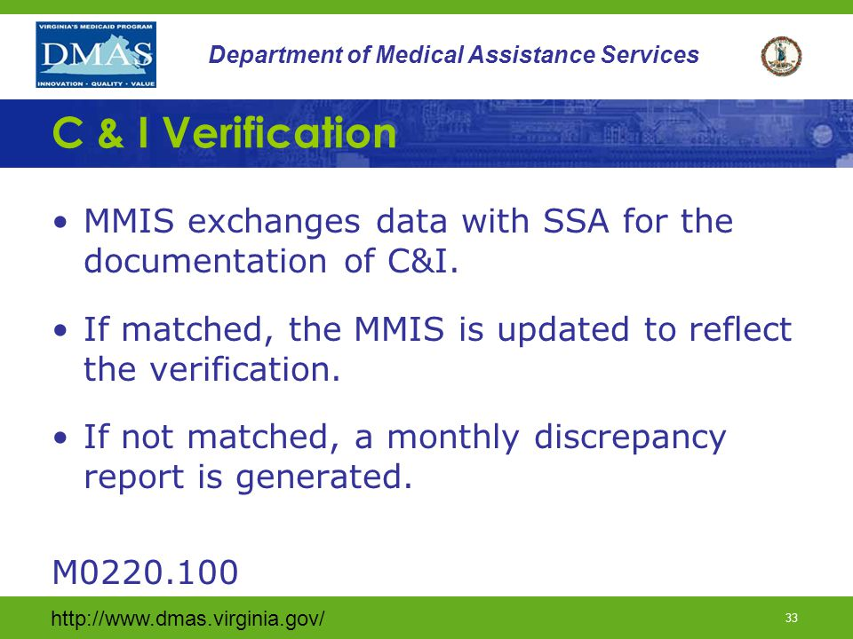 http://www.dmas.virginia.gov/ 32 Department of Medical Assistance Services SSN Verification (continued) To verify SSN's: –Use the Federal Hub, SOLQ-I or SVES If SSN is not verified or proof of application for a SSN is not provided enrollment in the VaCMS/MMIS should not occur until the correct information is provided.