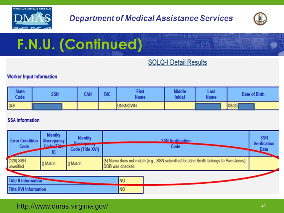 http://www.dmas.virginia.gov/ 42 Department of Medical Assistance Services F.N.U. (continued)
