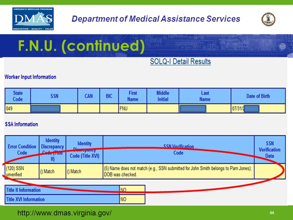 http://www.dmas.virginia.gov/ 43 Department of Medical Assistance Services F.N.U. (Continued)