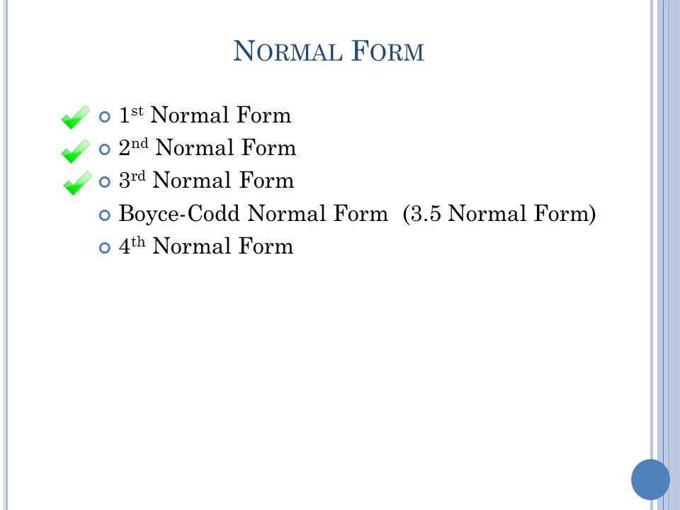 N ORMAL F ORM 1 st Normal Form 2 nd Normal Form 3 rd Normal Form Boyce-Codd Normal Form (3.5 Normal Form) 4 th Normal Form